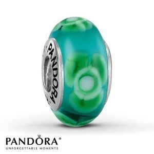 "Pandora ""Flowers for You"" Green Glass Charm"
